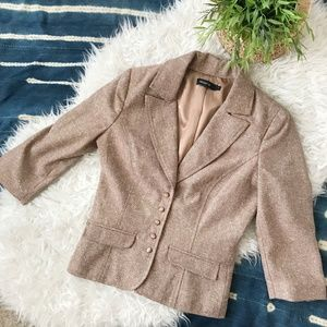 Arden B | Wool Tan Beige Metallic Blazer